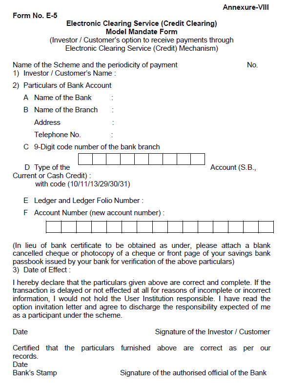 reserve bank of india electronic clearing service